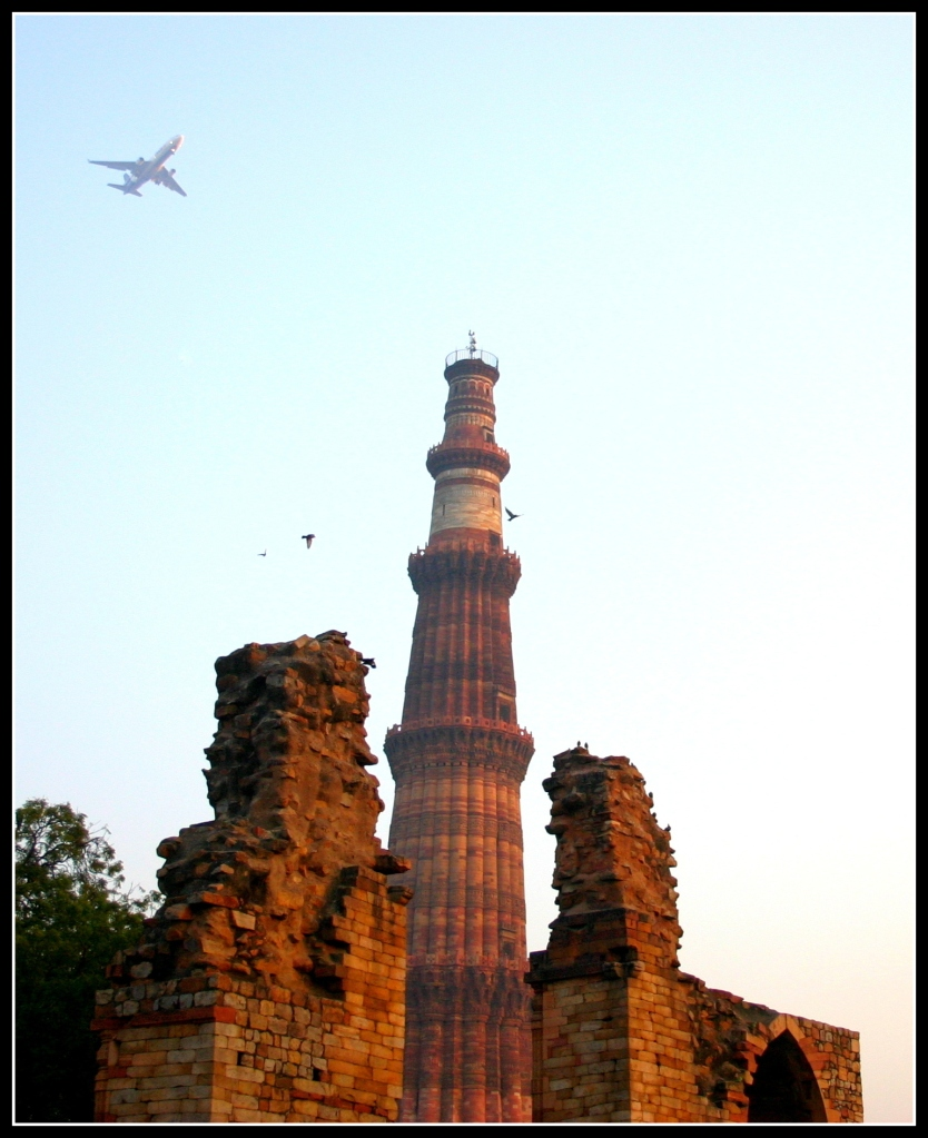 The plane, the birds and the Minar